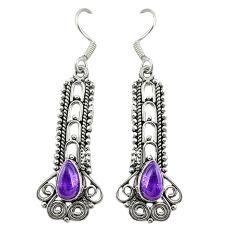 Natural purple amethyst 925 sterling silver dangle earrings d19806