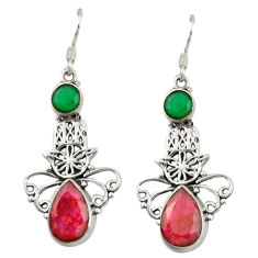 925 silver natural red ruby chalcedony hand of god hamsa earrings d19809
