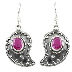 Clearance Sale- Red ruby quartz 925 sterling silver dangle earrings jewelry d19812