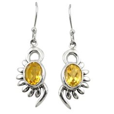 Clearance Sale- Natural yellow citrine 925 sterling silver dangle earrings jewelry d19819