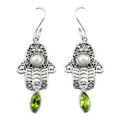 Natural green peridot white pearl 925 silver hand of god hamsa earrings d19820