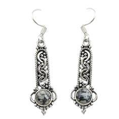 Natural black australian obsidian 925 silver dangle earrings jewelry d19829