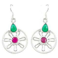 Clearance Sale- 925 silver red ruby green emerald quartz dangle earrings jewelry d19834
