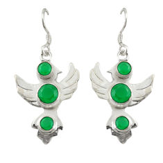 Clearance Sale- Natural green chalcedony 925 sterling silver dangle earrings d19835