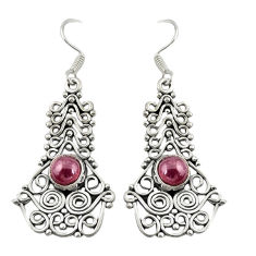 Clearance Sale- Natural red garnet 925 sterling silver dangle earrings jewelry d19842