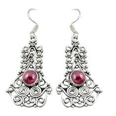 Natural red garnet 925 sterling silver dangle earrings jewelry d19842