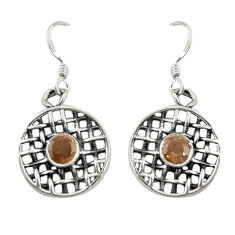 Clearance Sale- Brown smoky topaz 925 sterling silver dangle earrings jewelry d19851