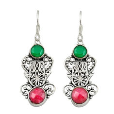 Clearance Sale- Red ruby emerald quartz 925 silver hand of god hamsa earrings jewelry d19865