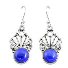 Natural blue lapis lazuli 925 sterling silver dangle earrings d19866