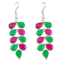 Clearance Sale- Red ruby green emerald quartz 925 silver dangle earrings d19873