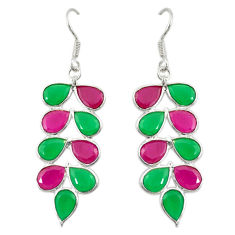 Green emerald red ruby quartz 925 silver dangle earrings jewelry d19882