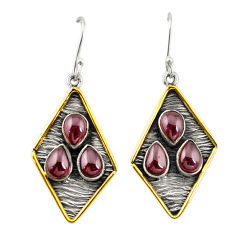 Clearance Sale- Natural red garnet 925 sterling silver two tone dangle earrings d19912