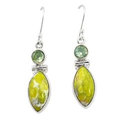 Natural yellow lizardite (meditation stone) 925 silver dangle earrings d19921