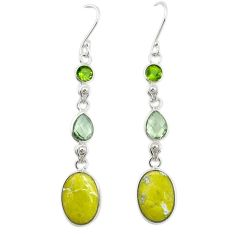 Natural yellow lizardite (meditation stone) 925 silver dangle earrings d19933