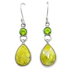 Natural yellow lizardite (meditation stone) 925 silver dangle earrings d19935