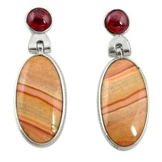 Natural brown wave rolling hills dolomite 925 silver dangle earrings d19942