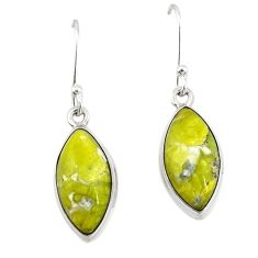 Natural yellow lizardite (meditation stone) 925 silver dangle earrings d19943
