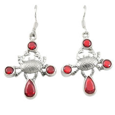 Clearance Sale- Red garnet quartz 925 sterling silver crab earrings jewelry d19990