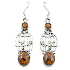 Clearance Sale- 925 silver natural brown pietersite (african) dangle cage earrings d19996