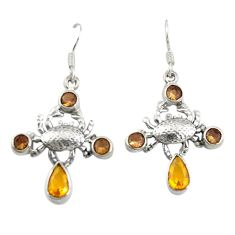 Clearance Sale- Yellow citrine quartz smoky topaz 925 silver crab earrings jewelry d20001