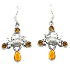 Clearance Sale- Yellow citrine quartz brown smoky topaz 925 silver crab earrings d20013