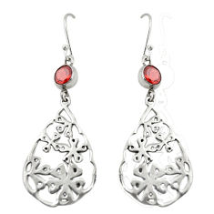 Clearance Sale- 925 sterling silver natural red garnet dangle earrings jewelry d20020