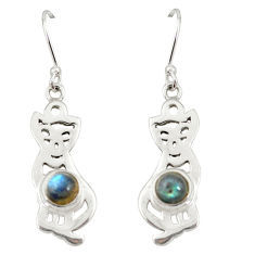 Clearance Sale- Natural blue labradorite 925 sterling silver cat earrings jewelry d20027