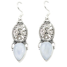 Clearance Sale- Natural rainbow moonstone 925 sterling silver dangle earrings d20028