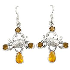 Natural yellow citrine smoky topaz 925 silver crab earrings jewelry d20030