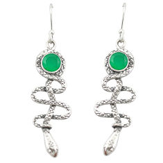 Natural green chalcedony 925 sterling silver snake earrings jewelry d20033