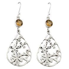 Clearance Sale- Brown smoky topaz 925 sterling silver dangle earrings jewelry d20036