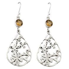 Clearance Sale- Brown smoky topaz 925 sterling silver flower earrings jewelry d20047