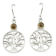 Clearance Sale- Brown smoky topaz 925 sterling silver tree of life earrings jewelry d20049