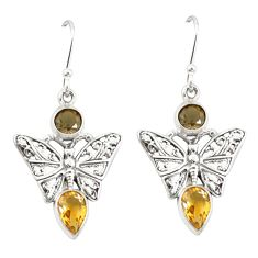 Clearance Sale- Brown smoky topaz citrine 925 sterling silver butterfly earrings jewelry d20050