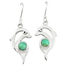 Natural green peruvian amazonite 925 sterling silver dolphin earrings d20056