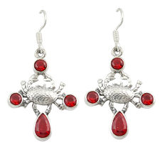 Clearance Sale- Natural red garnet 925 sterling silver crab earrings jewelry d20062