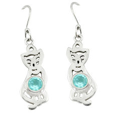 Clearance Sale- Natural blue topaz 925 sterling silver cat earrings jewelry d20066