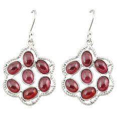 Natural red garnet 925 sterling silver dangle earrings jewelry d20085