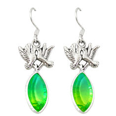 Clearance Sale- Green tourmaline (lab) 925 sterling silver love birds earrings d20109