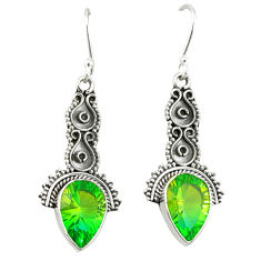 Clearance Sale- Green tourmaline (lab) 925 sterling silver dangle earrings jewelry d20110