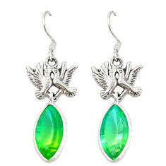 Clearance Sale- Green tourmaline (lab) 925 sterling silver love birds earrings d20111