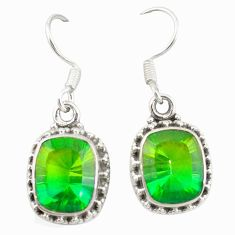 Clearance Sale- 925 sterling silver green tourmaline (lab) dangle earrings jewelry d20117