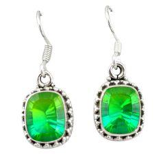 Green tourmaline (lab) 925 sterling silver dangle earrings jewelry d20118
