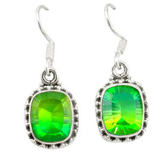 Clearance Sale- 925 sterling silver green tourmaline (lab) dangle earrings jewelry d20119