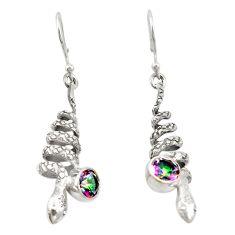 925 sterling silver multi color rainbow topaz snake earrings jewelry d20144