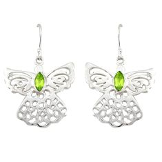 Clearance Sale- Natural green peridot 925 sterling silver dangle earrings jewelry d20146