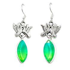 Green tourmaline (lab) 925 sterling silver love birds earrings jewelry d20364