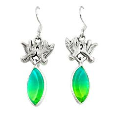 Clearance Sale- Green tourmaline (lab) 925 sterling silver love birds earrings jewelry d20375