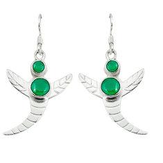 Clearance Sale- Green emerald quartz 925 sterling silver dangle earrings jewelry d2039