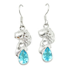 Clearance Sale- 925 sterling silver natural blue topaz dangle fish earrings jewelry d20394